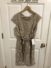 Tadashi Shoji Cocktail Embroidered Lace Blouson Waist Dress Sand Size 12P