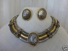 Pewter & Gold Tone Metal Vintage Bib Necklace Chunky Collar & Earrings Dramatic
