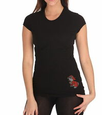 Cache Womens Black Cotton T-Shirt Embellished Crystals Bunny