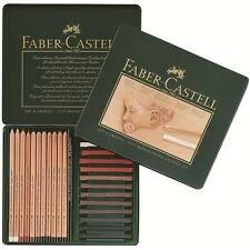 Faber-Castell PITT Studio Set Tin of 25, 12 Charcoal Pencil 13 Pastel Crayon