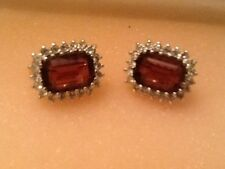 Pre - Owned Purple & Clear Rhinestone Rectangle Shape Clip On Earrings