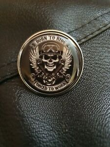 Biker Gothic Punk Skull Born to Ride/Forced to Work Glass Fish Eye Pin Badge