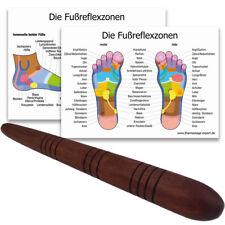 Massage-Stab aus Holz / Deuserstab als Massagehilfe + DIN A4 Plakate Reflexzonen