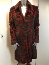 Fabulous Miss Sixty Red Brown Pattern faux fur Padded Coat Jacket Size S