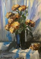 Original oil painting art Vase of flowers floral Impressionism shabby chic decor