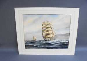 English Watercolour of Tall Ships at Sea by EA SWAN signed/unframed