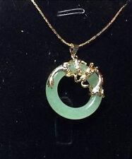 Pure jade dragon phoenix pendant necklace