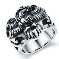 Black Silver Stainless Steel Flying Eagle Men's Ring Boyfriend Gifts Size 7-10