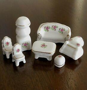 Vintage Miniature Dollhouse Furniture Lot Porcelain Sofa Piano Table Chairs