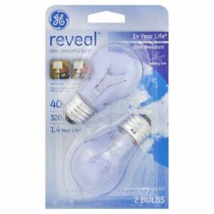 Ge Lighting 76593 40 Watt E26 A15 Reveal Clear Soft White Light Bulbs (2 Pack)