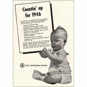 1947 Bell Telephone: Countin Up Vintage Print Ad