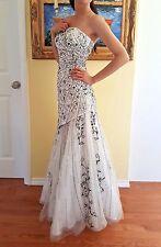 Black & White Long Beaded Prom Wedding Dance Formal Gown Dress Satin & Tulle