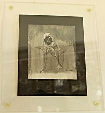 Original Vintage Lucite Framed Pen & Ink Small Drawing Female Signed E. Gibbel