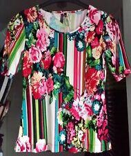 Lavelle - Damen Kurzarm Shirt , buntes Blumenmuster , Größe 32 / 34 , NEU