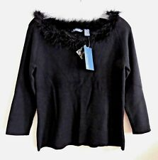 Hillard Hanson Black Knit Top Sweater Blouse with Ostrich Feather PM
