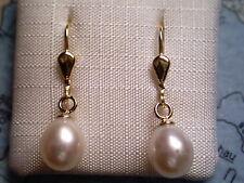 Perlenohrhänger Gold 333 Eiform, Ohrhänger Gold 333 mit SW-Zuchtperlen Eiform