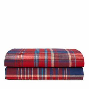 Ralph Lauren KING EXTRA DEEP Fitted Sheet Marrick Norwich Road Plaid RED 324
