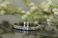 1/5 Ct Round Cut Diamond Channel Set Anniversary Wedding Band 14k White Gold GP