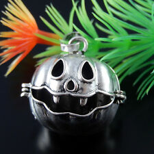 2pcs Silver/Gold Tone Brass Halloween Pumpkin Locket Necklace Charms Jewelry