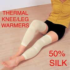 2 X SILK WOMENS GIRLS THERMAL 50cm  Knee Leg Elasticated One Size Warmer Support