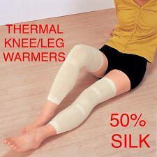 2 x Signore Seta Lunghi Termici 50cm gamba al ginocchio elasticizzati taglia Unica Caldo supporta