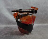 """Large Art Glass Swirled Ruffle VaseBlack Orange 8"""""""