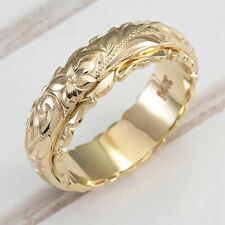 Exquisite 14k Gold Ring Hang Engraved Flower Ring Anniversary Engagement Gifts