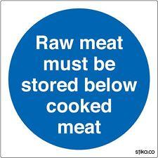 Carne cruda devono essere conservati al di sotto di carne cotti segno 10x10cm cucina adesivo di sicurezza
