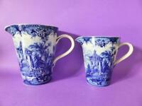 Vintage Graduated Milk Jugs, Somerton Green Porcelain, Blue & White Scenes