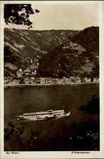 St. Goarshausen alte Ansichtskarte ~1930/40 Gesamtansicht über den Rhein Schiff