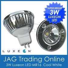 12V 3W LUXEON LED MR16 COOL WHITE DOWNLIGHT/DOWN LIGHT GLOBE -House/Caravan/Boat
