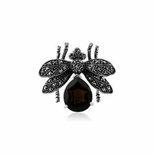 925 Sterling Silver Marcasite & Smokey Quartz Bumble Bee Brooch