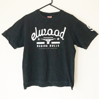 Elwood Black Logo Men's Cotton T-Shirt Size L Cropped Length Casual Beach