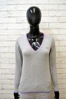 Maglione FRED PERRY Donna Taglia S Pullover Cardigan Sweater Woman Grigio Lana
