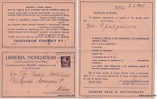 # PUBBLICITARIA - EDITORIA : LIBRERIA MONDADORI  - 1947 - CART. DOPPIA