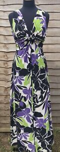 PHASE EIGHT Floral Summer Maxi Dress 12 40 Wedding Races Deep Plunging Neckline