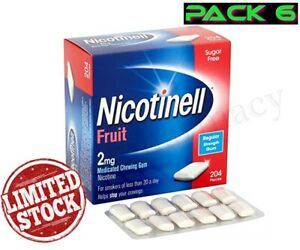 Nicotinell Gum Fruit 2mg  204 Pieces Pack of 6 -- Expiry May 2023