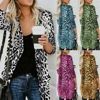 Women's Leopard Print Loose Blouse T-Shirt Boho Coat Shawl Kimono Cardigan Tops