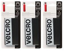 """3 ct Velcro Industrial Strength Hook & Loop Fastener 4"""" L x 2"""" W Black 2pk 90199"""