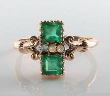 CLASSIC  9K 9CT  ROSE GOLD COLOMBIAN EMERALD & OPAL ART DECO INS RING FREE RESIZ