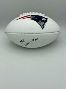 Stephon Gilmore Signed New England Patriots White Panel Football COA HOLOGRAM