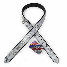 """Levy's PM28DR  1 1/2"""" with Rivets Design Distressed Leather Guitar Strap WHITE"""