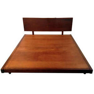 Platform Bed with Walnut Headboard In the style of George Nakashima