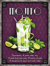 Mojito Cocktail Recipe, Classic Cocktails Drink, Medium Metal Steel Wall Sign