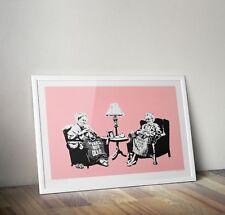 Banksy Knitting Grannies Graffiti Street Art Poster Print Picture A3 A4