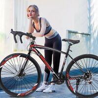 Commuter Aluminum Full Suspension Road Bike 21 Speed Disc Brakes 700c Bicycle
