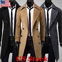 Mens Gentlemen Double Breasted Trench Coat Jacket Outwear Winter Long Overcoat