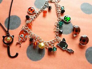 Miraculous Ladybug Accessoires Set Cat Noir Kette Ohrclips Armband