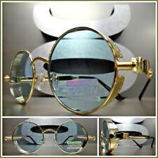 Men's or Women VINTAGE RETRO Style SUN GLASSES Round Gold Frame Mint Green Lens