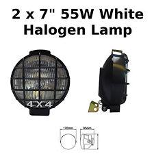 "Pair 7"" Black Car Van Round Driving Halogen Spot Lamps Lights Grills 4x4 - 789"